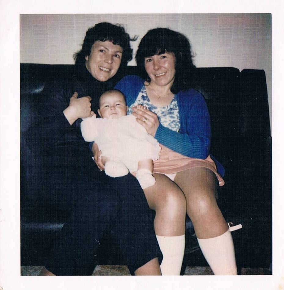 Vivienne as a baby, mum on the right